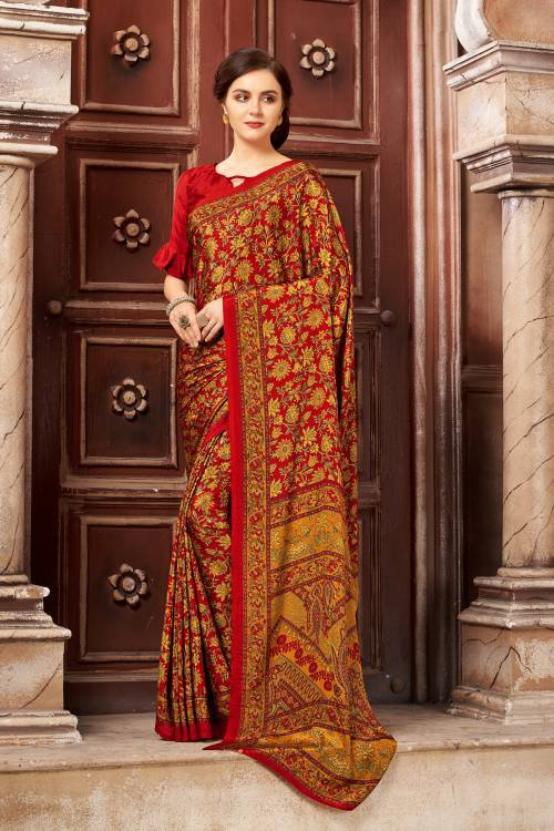 Red Crepe Traditional Printed Saree With Unstitched Blouse Piece