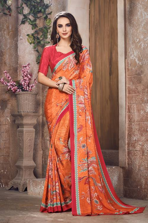 Orange Color Crepe Printed Bollywood Saree With Unstitched Blouse Material