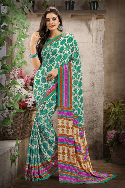 Green Color Crepe Printed Bollywood Saree With Unstitched Blouse Material