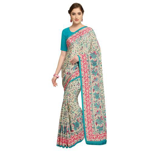 Beige Crepe Printed Partywear Saree With Unstitched Blouse Material