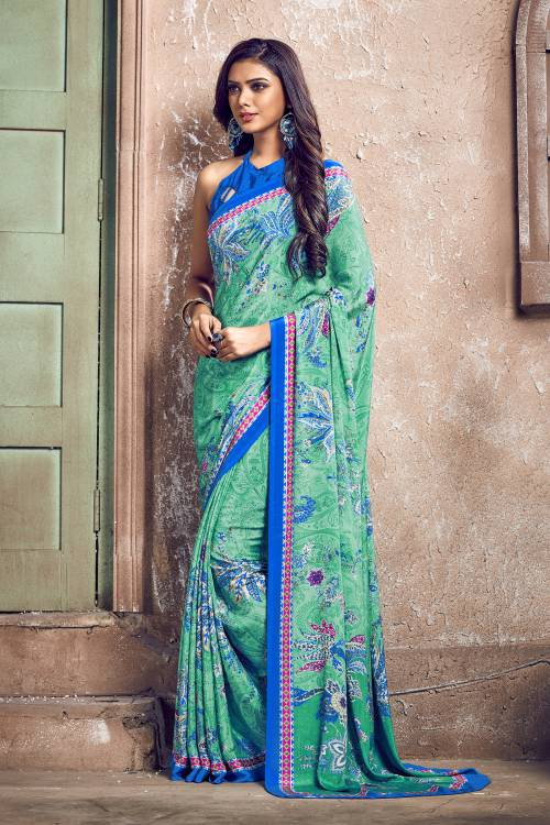 Turquoise Color Crepe Printed Bollywood Saree With Unstitched Blouse Material