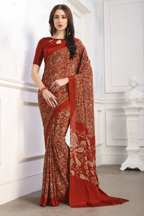Maroon Crepe Printed Partywear Saree With Unstitched Blouse Material
