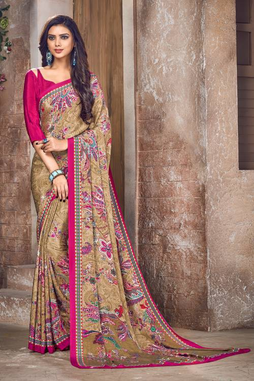 Beige Color Crepe Printed Bollywood Saree With Unstitched Blouse Material