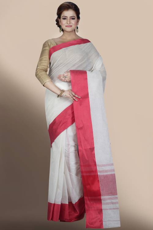 Craftsvilla White Cotton Woven Traditional Saree