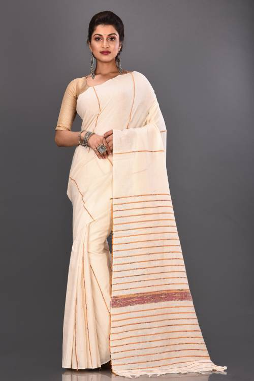 White Cotton Woven Traditional Saree With Unstitched Blouse Material