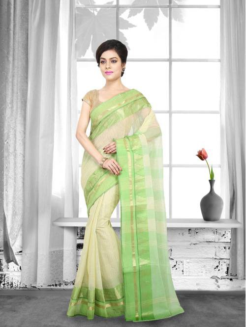 Green Color Cotton Handwoven Traditional Saree