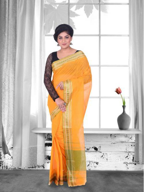 Craftsvilla Orange Color Cotton Handwoven Traditional Saree
