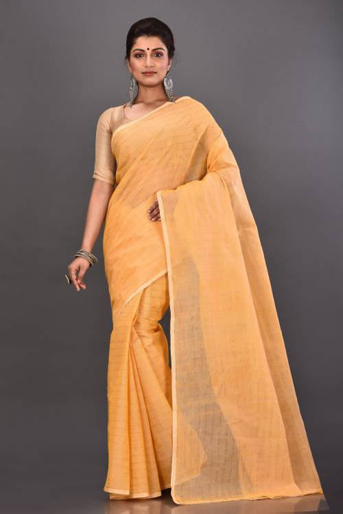 Off White Cotton Woven Traditional Saree Without Blouse Material