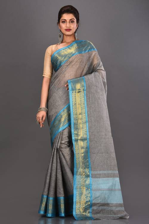 Grey Cotton Woven Traditional Saree Without Blouse Material
