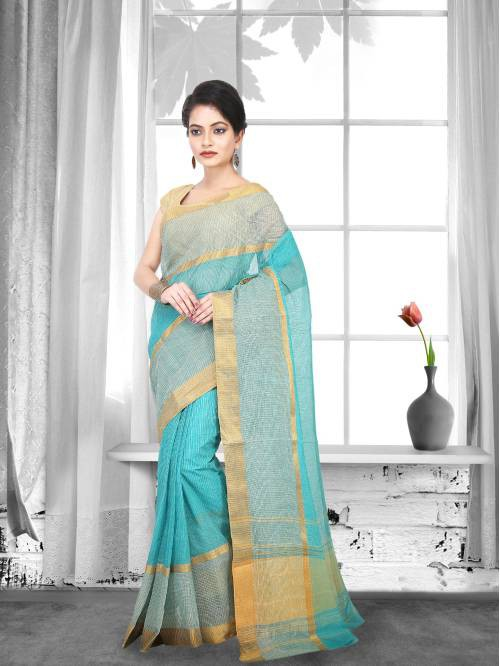 Blue Color Cotton Handwoven Traditional Saree