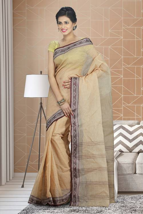 Craftsvilla Beige Color Cotton Plain Traditional Saree Without Blouse Material