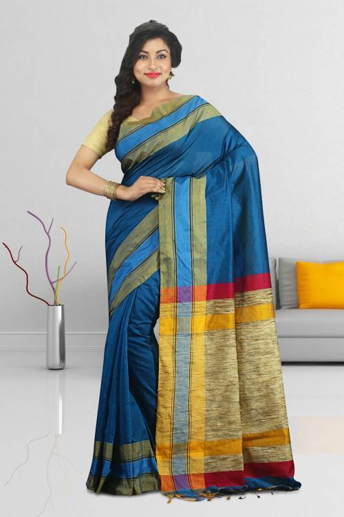 Craftsvilla Blue Color Cotton Silk Plain Traditional Saree Without Blouse Material