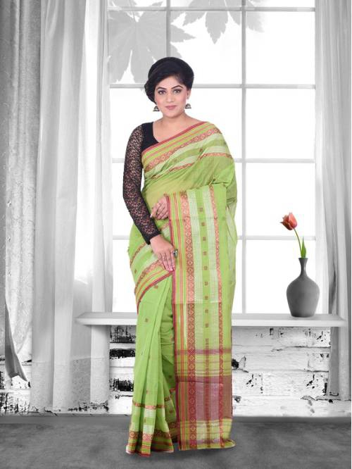 Craftsvilla Green Color Cotton Handwoven Traditional Saree