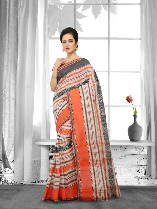 Multicolor Cotton Handwoven Traditional Saree