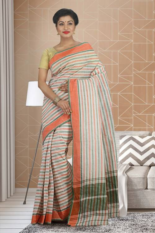Craftsvilla White Color Cotton Plain Traditional Saree Without Blouse Material