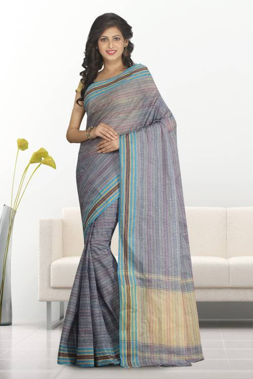 Multicolor Cotton Plain Traditional Saree Without Blouse Material