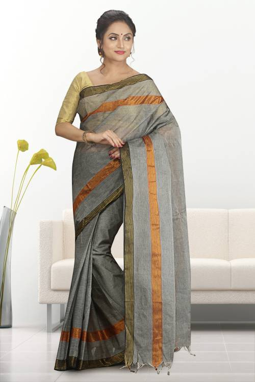 Grey Color Cotton Plain Traditional Saree Without Blouse Material