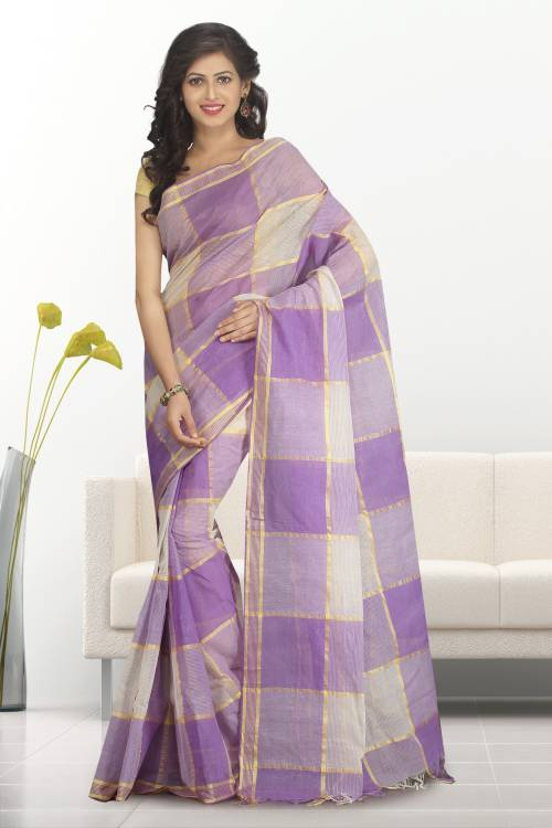 Craftsvilla Purple Color Cotton Plain Traditional Saree Without Blouse Material