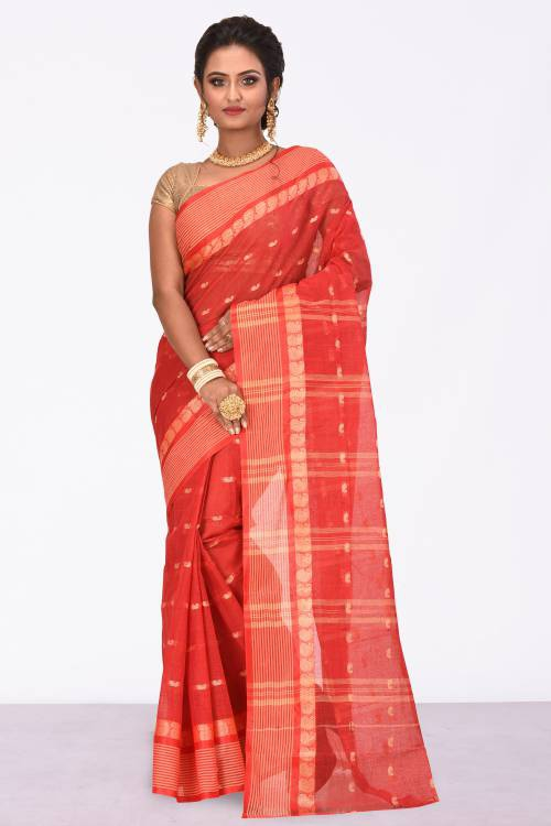 Red Cotton Traditional Solid Saree