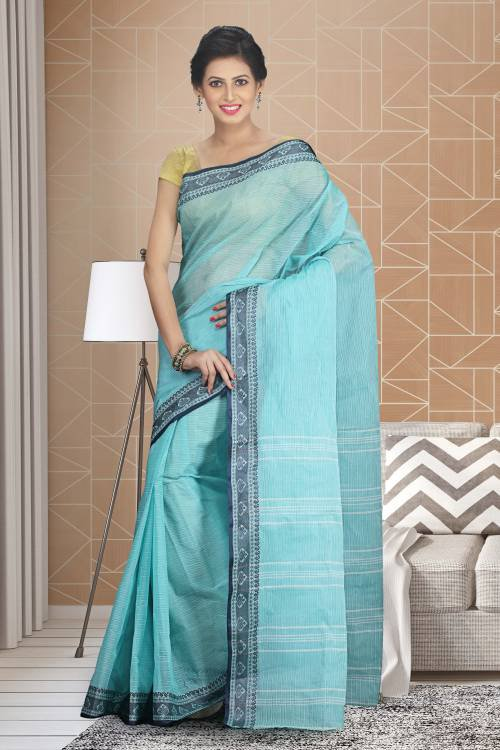 Craftsvilla Sky Blue Color Cotton Plain Traditional Saree Without Blouse Material