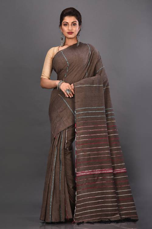 Beige Cotton Woven Traditional Saree With Unstitched Blouse Material
