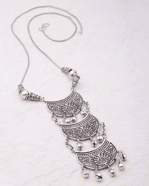 Craftsvilla Silver Plated Hand Crafted Tribal Brass Necklace Set