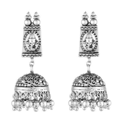 Craftsvilla Rodhium Finish Pearl Embellished Traditional Drops Earrings
