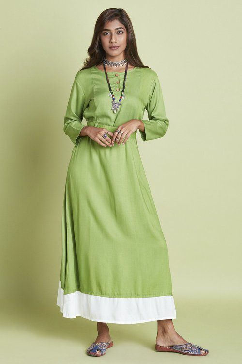 Green Rayon Plain Calf Length Flared Kurti