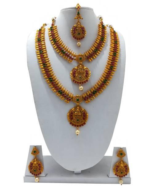 Craftsvilla Antique Finish Brass Traditional Pearls Necklace Set