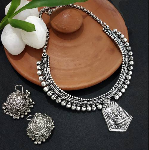 Craftsvilla Oxidized Silver Finish Brass Hand Crafted Necklace Set