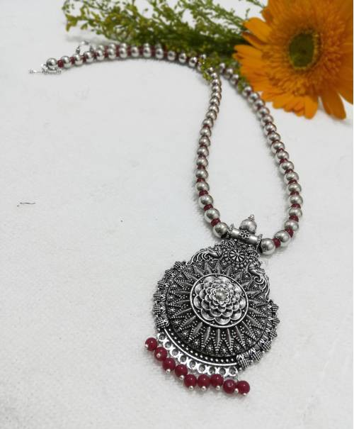 Craftsvilla Silver Plated Alloy Metal Vintage Hand Crafted Necklace