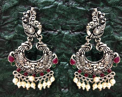 Craftsvilla Brass Oxidized Silver Finish Hand Crafted Stud Earrings
