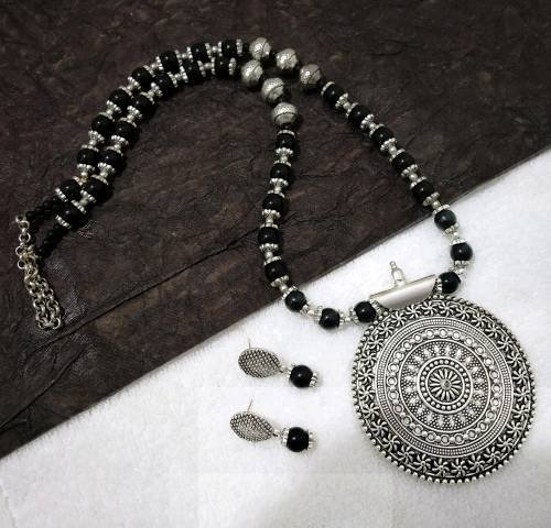 Oxidized Silver Finish Brass Hand Crafted Necklace Set