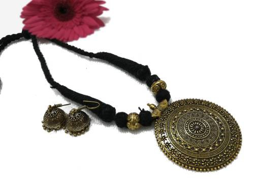 Craftsvilla Oxidized Gold Finish Brass Antique Hand Crafted Necklace Set
