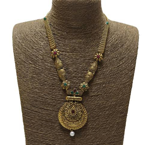 Antique Gold Plated Handcrafted Polki Traditional Necklace Set With Earrings