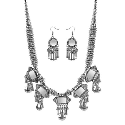 Silver Plated Designer Necklace Set