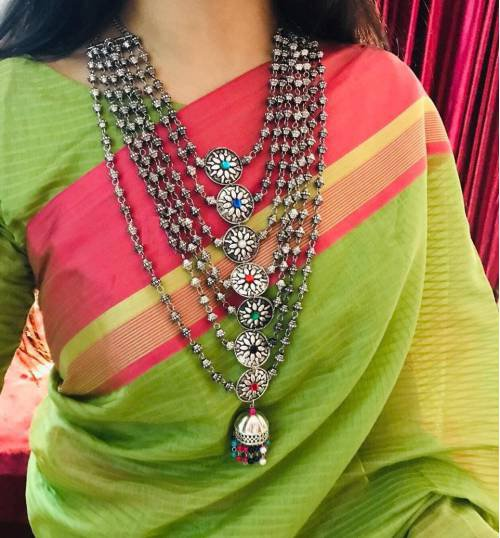 Aradhya Designer Multi Layer German Silver Oxidized Necklace Set With Stud Earrings