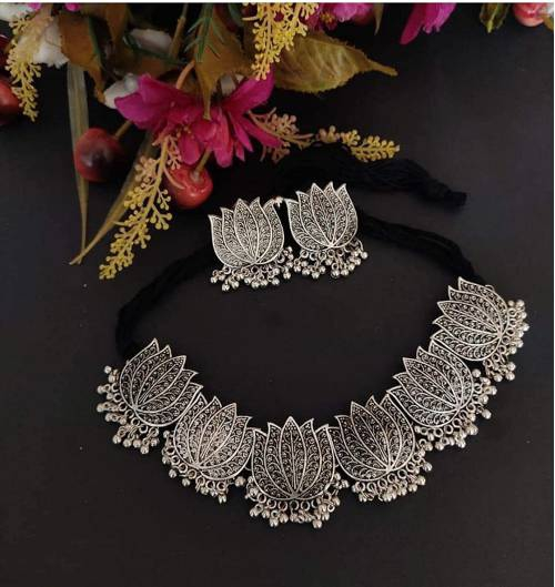Aradhya  Antique Silver Oxidised Tribal Afghani Necklace Set With Earrings For Women