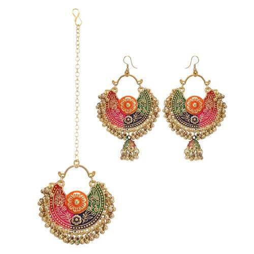 Aradhya Golden Oxidised Navratri Collection Earrings With Maang Tikka For Women And Girls
