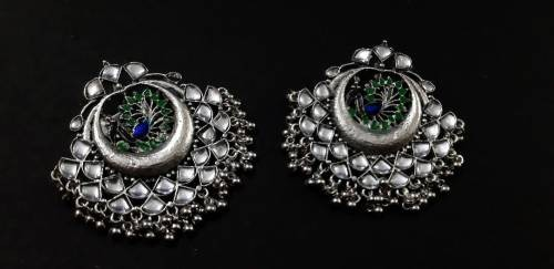 Metallic Finish Alloy Metal Designer Chandbali Earrings