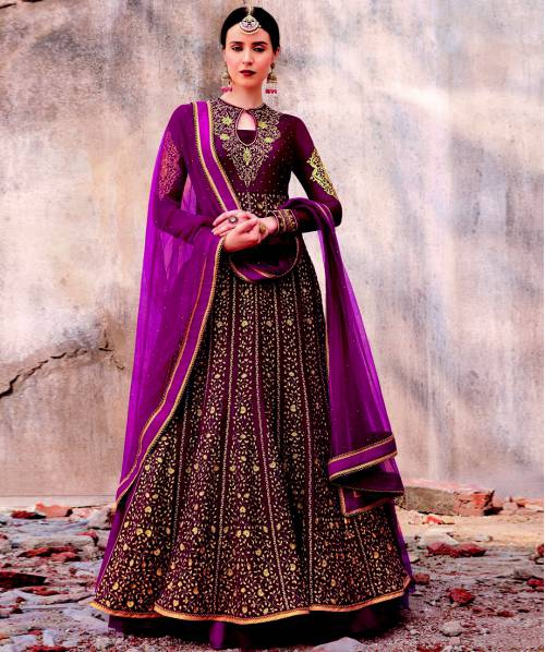 Craftsvilla Pink Velvet Embroidered Semi-stitched Anarkali Suit