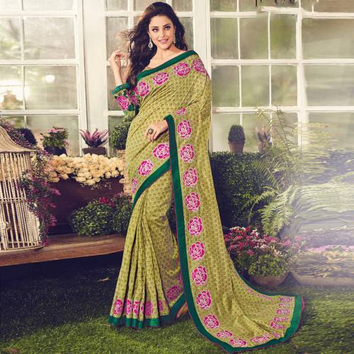 Craftsvilla Green Color Viscose Crepe Embroidered Partywear Saree