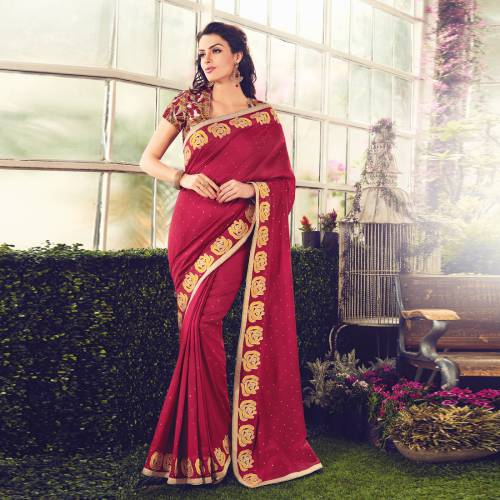 Craftsvilla Red Color Viscose Crepe Embroidered Partywear Saree