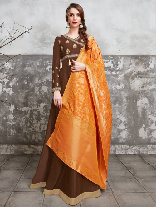 Craftsvilla Brown Silk Blend Embroidered Semi-stitched Circular Anarkali Suit