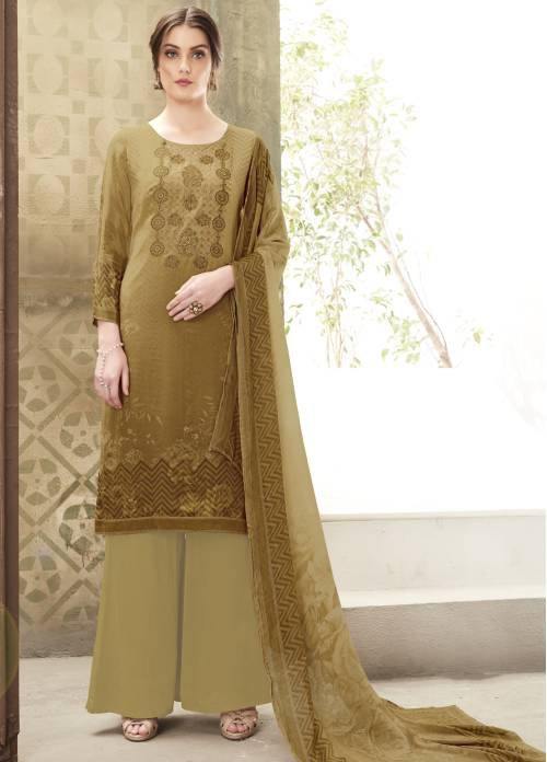 Craftsvilla Brown Crepe Thread Embroidery Unstitched Straight Suit