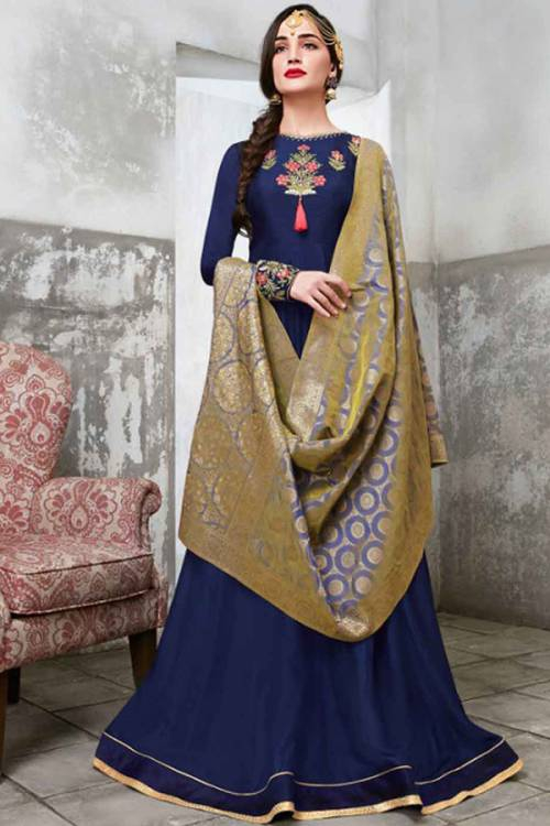 Navy Blue Silk Blend Embroidered Semi-stitched Anarkali Suit