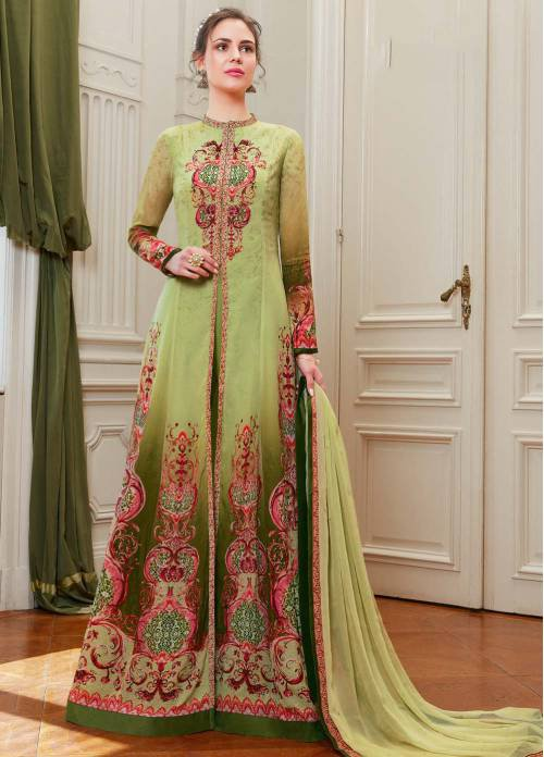 Craftsvilla Green Viscose Unstitched Anarkali Suit