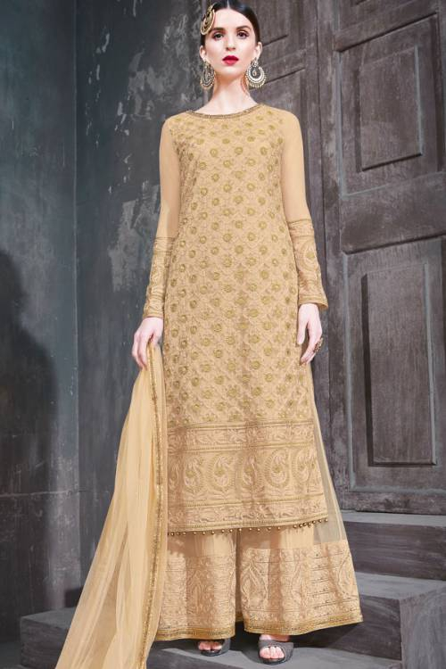 Craftsvilla Gold Net Embroidered Semi-stitched Palazzo Suit