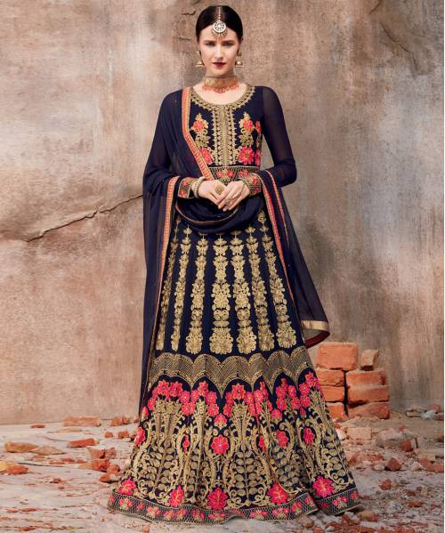 Craftsvilla Navy Georgette Embroidered Semi-stitched Anarkali Suit