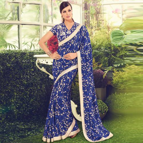 Craftsvilla Blue Color Viscose Crepe Embroidered Partywear Saree